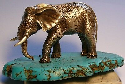 Royal Faberge Elephant Imperial Russian 84 Silver Turquoise Citrine