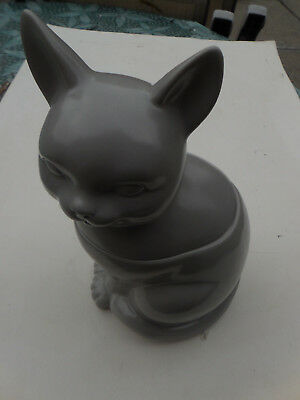 Porcelain Cookie jar in the shape of a Gray cat
