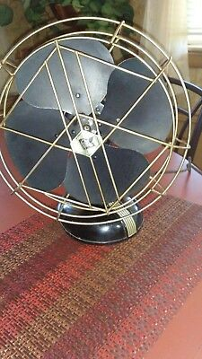Antique Electric Fan R&M Brass Cage cast aluminum works cloth cord cooling