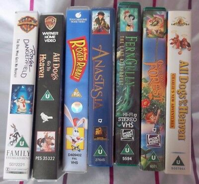 Rare Vhs Films £2.50 Each Rover Dangerfield Dogs Go To Heaven  Anastasia & More
