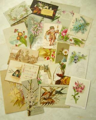 20 Vintage ANTIQUE VICTORIAN CHRISTMAS CARDS inc SINGLE SIDED New Year CRAFT (M)