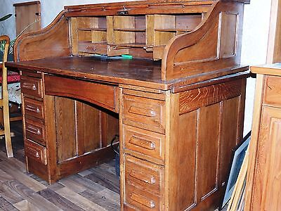 antique oak  serpentine roll-top desk