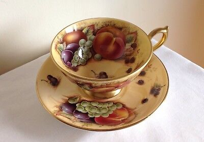 Vintage Aynsley Porcelain Orchard Gold Gilded Fruit Large Cup & Saucer Mint