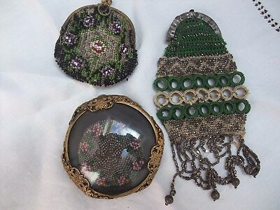 VINTAGE BEADWORK PIECES - Three - 2 Purses and Brooch - As found