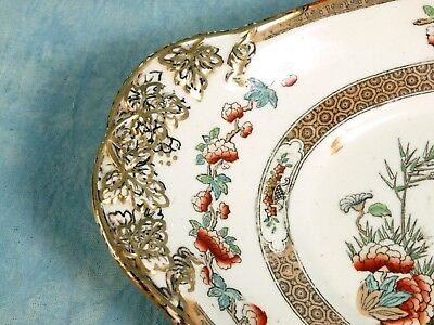 Antique 1860 COPELAND Indian India Tree Green Rust Oval Nut Candy Snack Dish