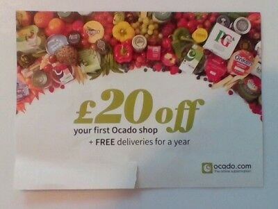 Ocado Discount Voucher £20 Off Shop & Deliveries for Year Valid to 26/11/17
