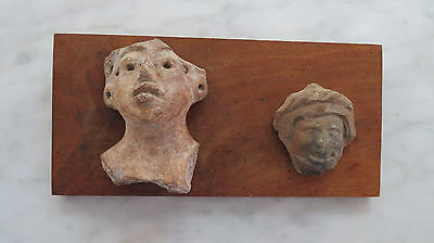 Pre- Columbian Mounted Clay Heads Artifacts