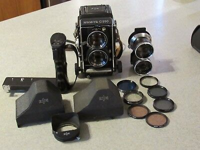 Mamiya c330 - 2 lenses - 2 view finders - flash bracket - assorted filters