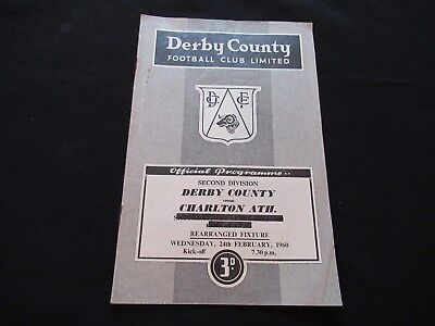 Vintage Football Programme Derby County v Charlton February 1960 Good+ FREE P&P