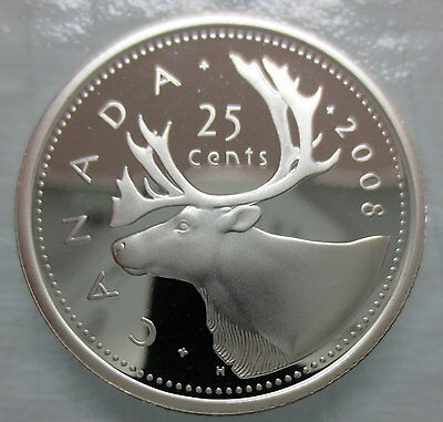 2008 Canada 25 Cents Proof Silver Quarter Heavy Cameo Coin