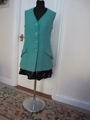 1970's Vintage Long Green Tweed Waistcoat Made in England By Harella Size UK 12
