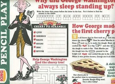 Burger King Placemat George Washington 1988 Cherry Pie Pencil Play