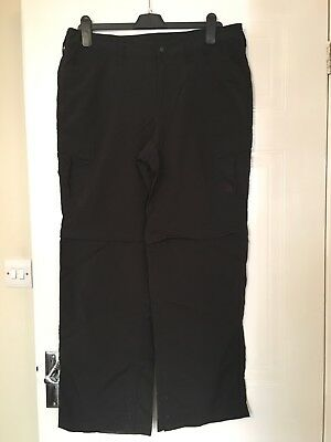 North Face Zip Off Walking Trousers Black Large Short Length