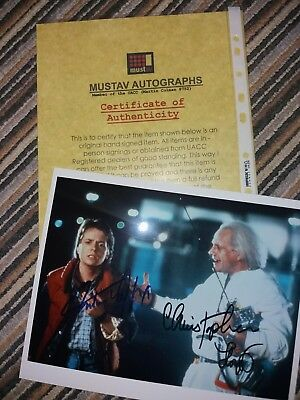 Michael J Fox & Christopher Lloyd signed photo - Marty McFly & Doc Brown Back to
