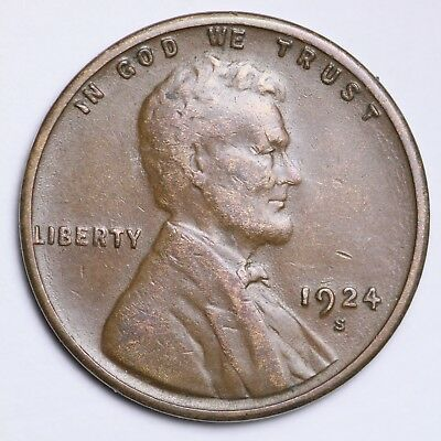XF 1924-S Lincoln Wheat Cent Penny FREE SHIPPING!