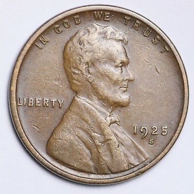 XF 1925-S Lincoln Wheat Cent Penny FREE SHIPPING!