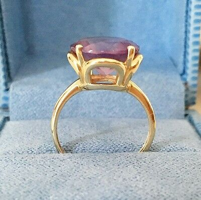 Amazing Vintage 14K Yellow Gold Ring With Large Amethyst Gemstone (6)