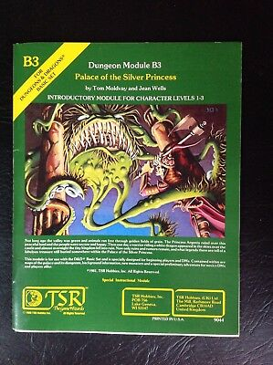 TSR Dungeons And Dragons Vintage 80's Dungeon Module B3 Palace Of The Silver