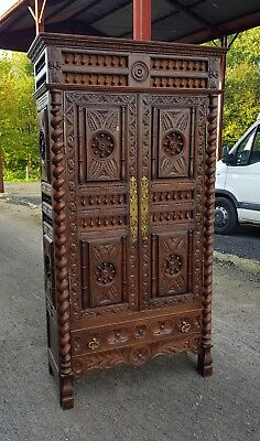 stunning antique french heavily carved breton wardrobe / linen press