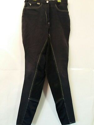 """Adult 24""""w 27""""l Teen Hy Performance Navy Cotton  Horse Riding Breeches -  Uk 8"""
