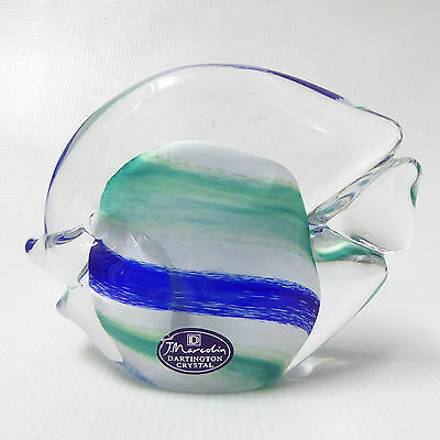 SIGNED + Label 1998 Josef Marcolin for Dartington Crystal Angel fish paperweight