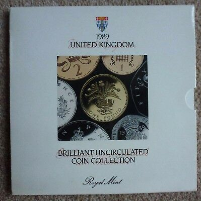 1989 UK BU Royal Mint Coin Set. 7 coins in folder w Scottish Thistle £1 coin