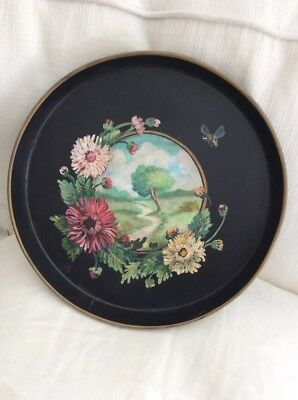 Original Painted Round Tole Tray Bee Flowers Landscape Cindy Hilliard
