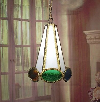 Antique Vintage Chandelier Pendant Fixture Slag Glass White Green  Blue Rewired