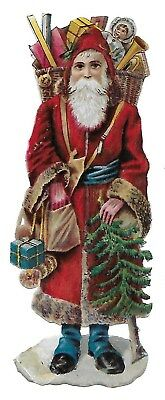 Victorian Antique Diecut Scrap Santa Bringing Gifts