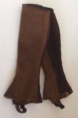 NEW Tredstep Brown Suede Leather Half Chaps Gaiters 12/16 Side Zip Horse Riding