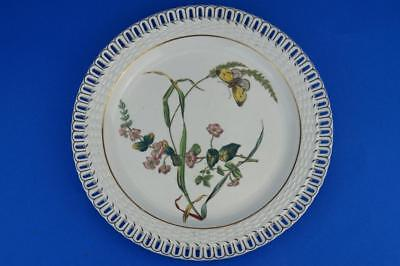 "MINTON 1878 Antique Reticulated Basketweave 9"" Dessert Plate BUTTERFLY & FLOWER"