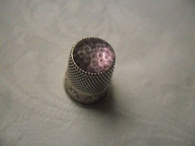 Vintage 800 Silver Thimble- Glass/Stone Top