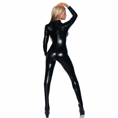 4 Way Zip  Catsuit Wetlook Sexy Stretch Spandex Catsuit Catwoman Dress Costume