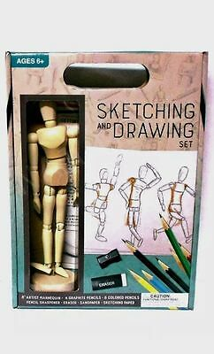 Sketching And Drawing Artist Set With Poseable Jointed Wooden 8 Inches Mannequin