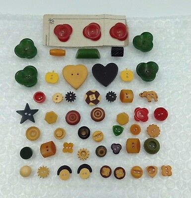 Group 52 Vintage Colorful BAKELITE Cookie Buttons-Carved Buttons-Stars-Hearts