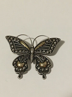Butterfly Silver Sterling 925 Superb Brooch & Gold Tone
