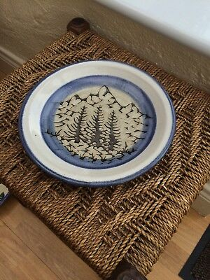 GLAZED PLATE clay BLUE CREAM MOUNTAIN  FIR TREES NEW EXCELLENT
