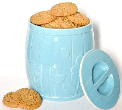 Cookie jar light blue ceramic barrel flower canister kitchen storage home decor