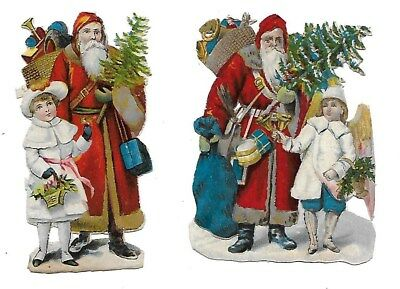 Victorian Antique Diecut 2 Scraps of Santa bringing gifts and Christmas tree
