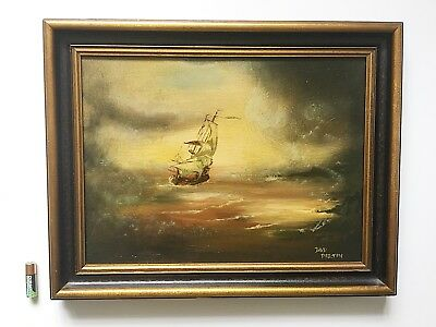 Vintage Oil Painting Seascape Galleon In Stormy Seas Gilt & Black Frame Signed