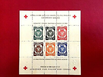 Poland , 1946 , Dachau Allach Dp Camp Post Souvenir Sheet , Perforated -Mnh