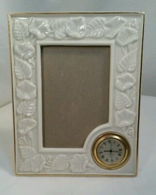 """Gold trimmed Picture Frame with clock by Lenox Holds 3""""x5"""" Photo EUC (BY)"""