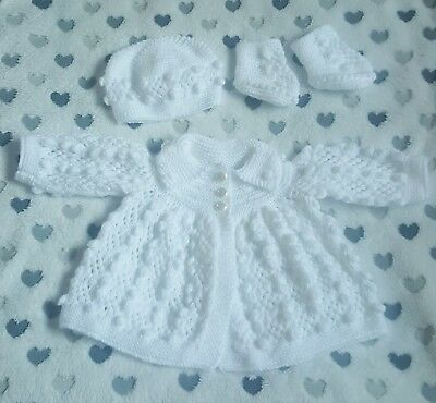"Hand Knitted Dolls Clothes For 20""-22"" Reborn Doll, 0-3 Mth Baby."