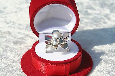Floral Design Vintage Pearl Flower Shape Mexico Sterling Silver Ring Mexican