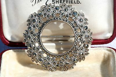 Beautiful Sparkling Vintage Marcasite Sterling Silver Circular Design Brooch