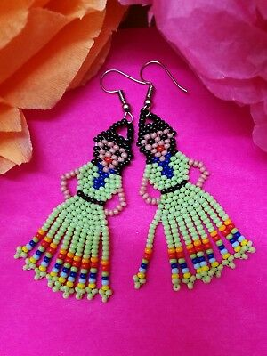 Huichol Indian Girl Bead Earrings Authentic Mexican Folk Jewellery Light Green