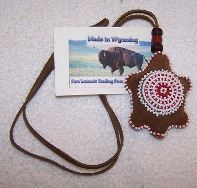 Hand Made Beaded Turtle Amulet Rendezvous Black Powder Mountain Man