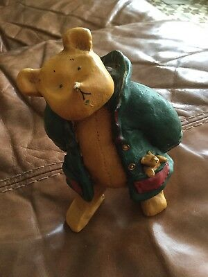 Colour Box Bear And Me. Standing Bear with Bear in pocket. Green duffle coat
