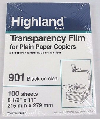 Highland Transparency Film for Plain Paper Copiers 100 Sheets 901 black on clear