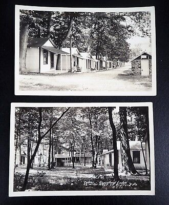 (2) VINTAGE RPPCs CABINS GREENLAND LODGE  2 1/2 MILES WEST OF BEDFORD PA